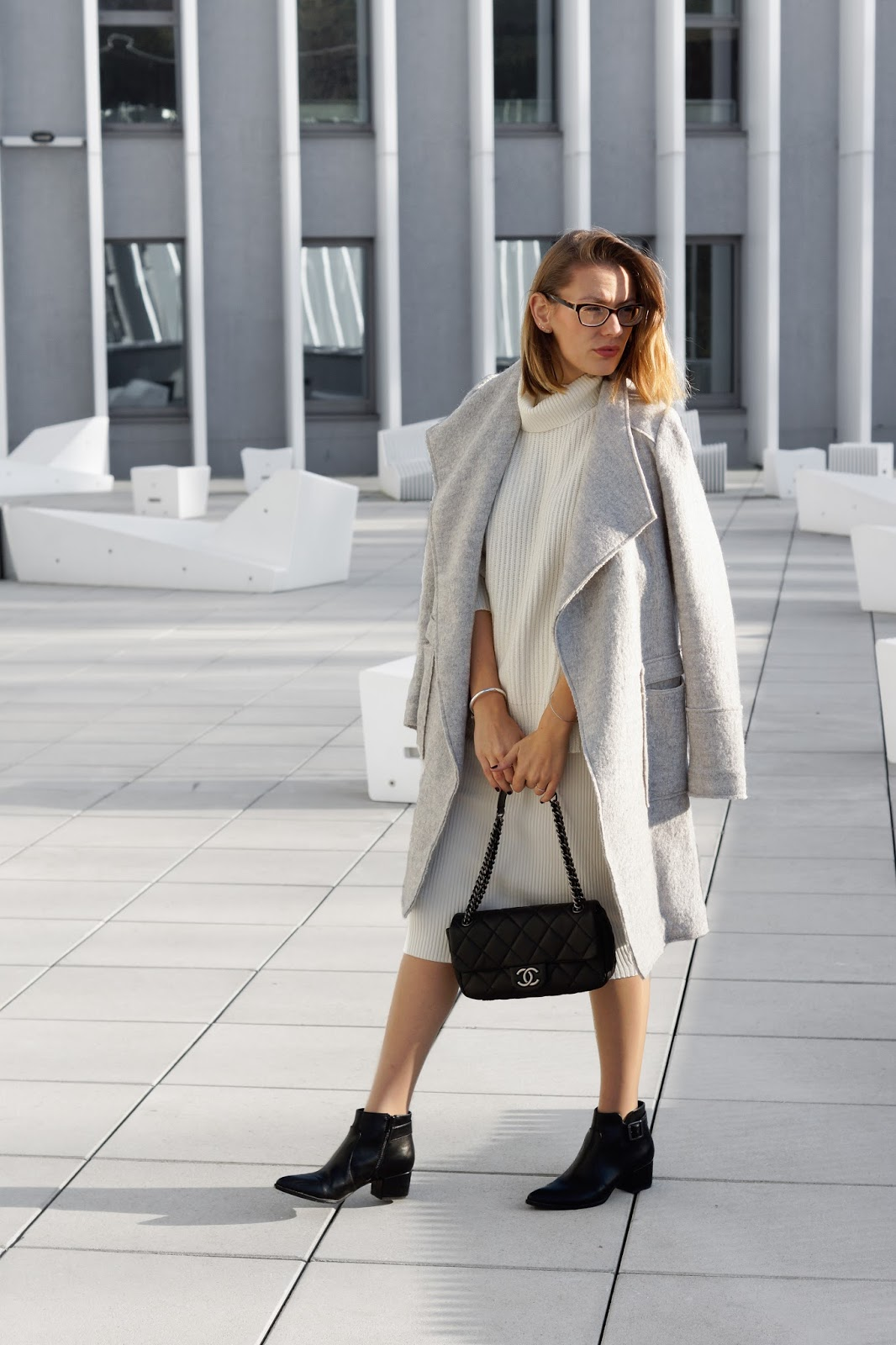 WHITE SKIRTS AND GREY COATS